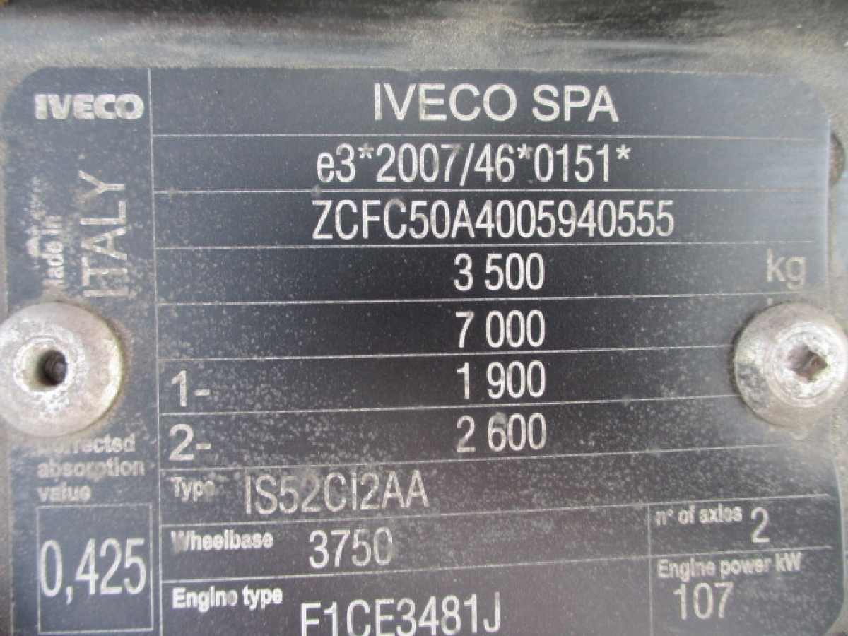 Iveco Daily 50C15   ložná plocha 4,5 m